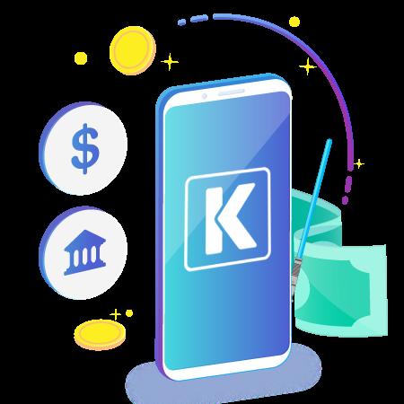 Imagen de un smartphone con varios elementos entre tantos podemos ver un símbolo peso y un símbolo de un banco
