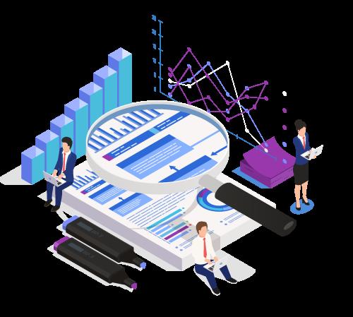 Ilustración de informes de auditoría con personas analizando gráficos