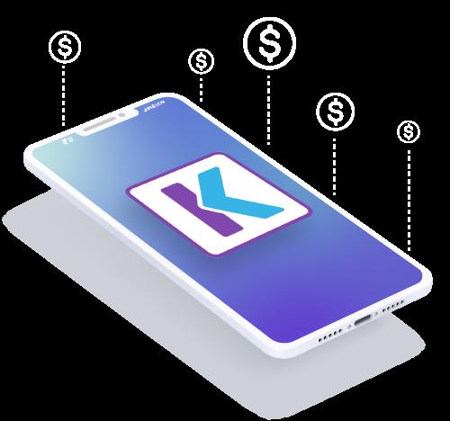 Imagen de celular con el logo de khipu y simbolos  que se despliegan para arriba indicando el recibo de pagos.