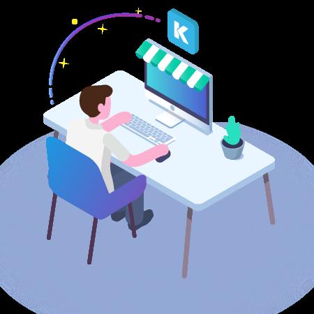 imagen de Joven trabajador sentado en su computador realizando la integración de un sitio con khipu