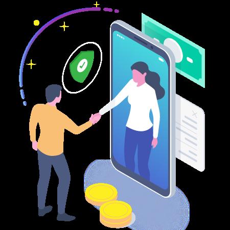 Dos personas dándose la mano, una está dentro de un celular y la otra fuera, hay un escudo de seguridad entre ambos, indicando la confianza que refleja la plataforma.