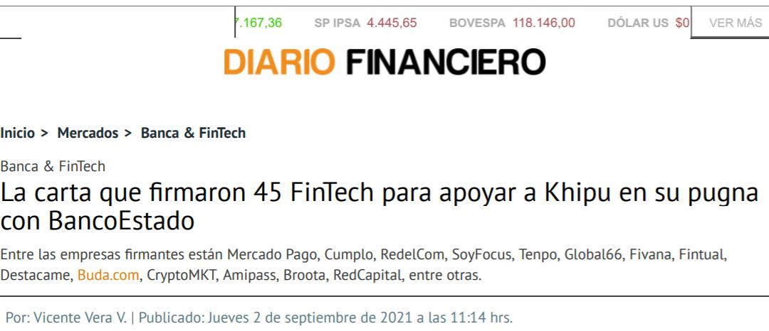 La carta que firmaron 45 FinTech para apoyar a Khipu en su pugna con BancoEstado